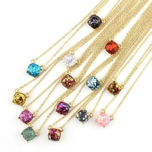 Jewelry - Gold Glitter Blue Pink Multi Pendant Necklace NEW